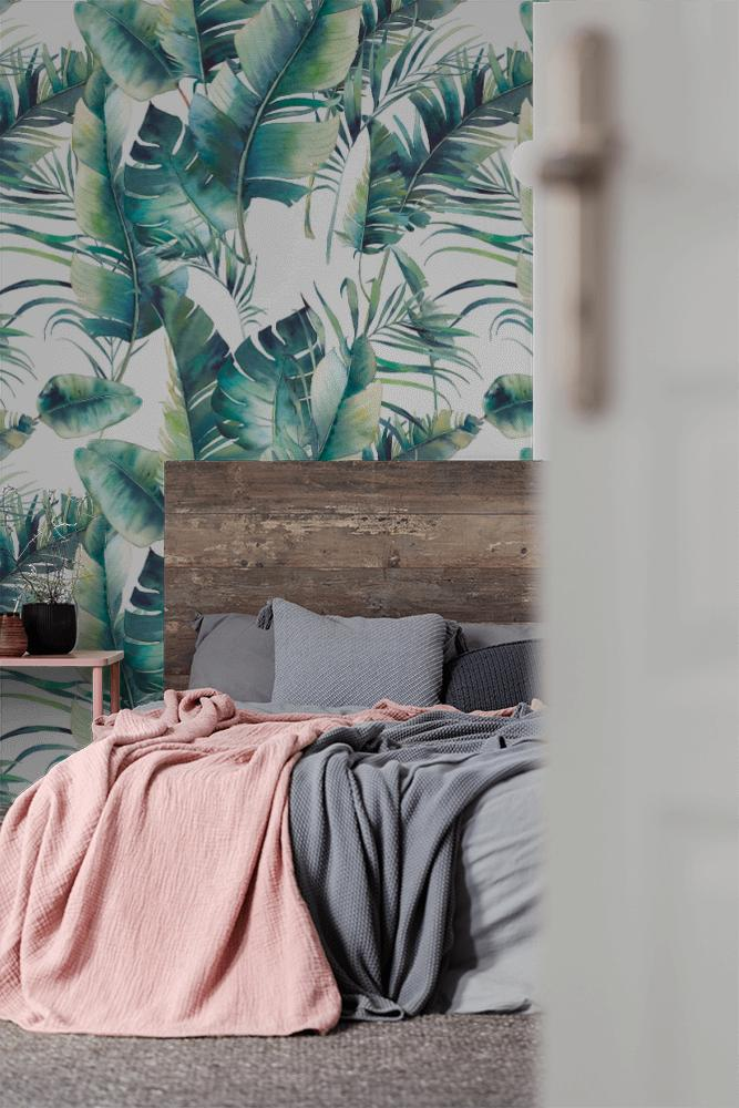 Tapeta do sypialni w tropikalne liście