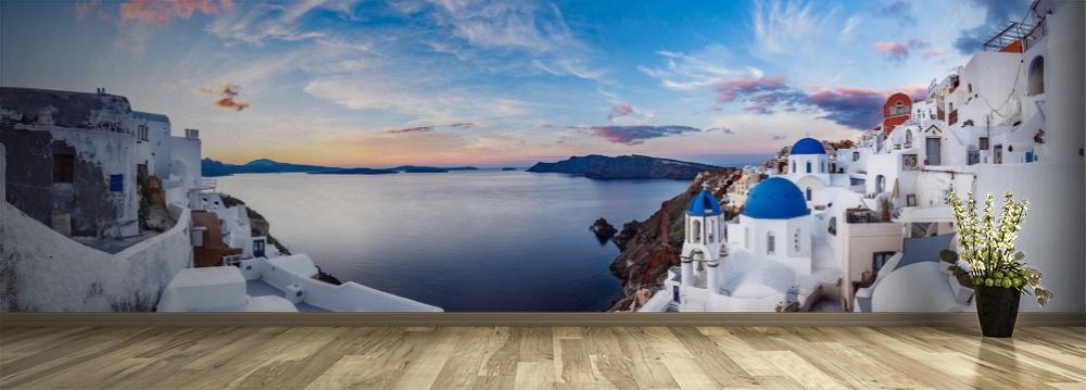 Fototapeta przedstawiająca panoramę Greckiej wyspy Santorini